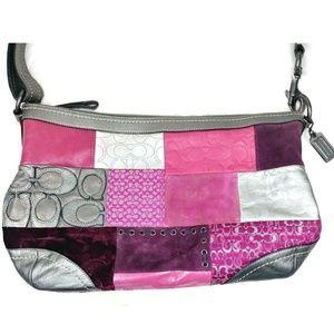 Coach Pink/Gunmetal Patchwork Large Shoulder Bag